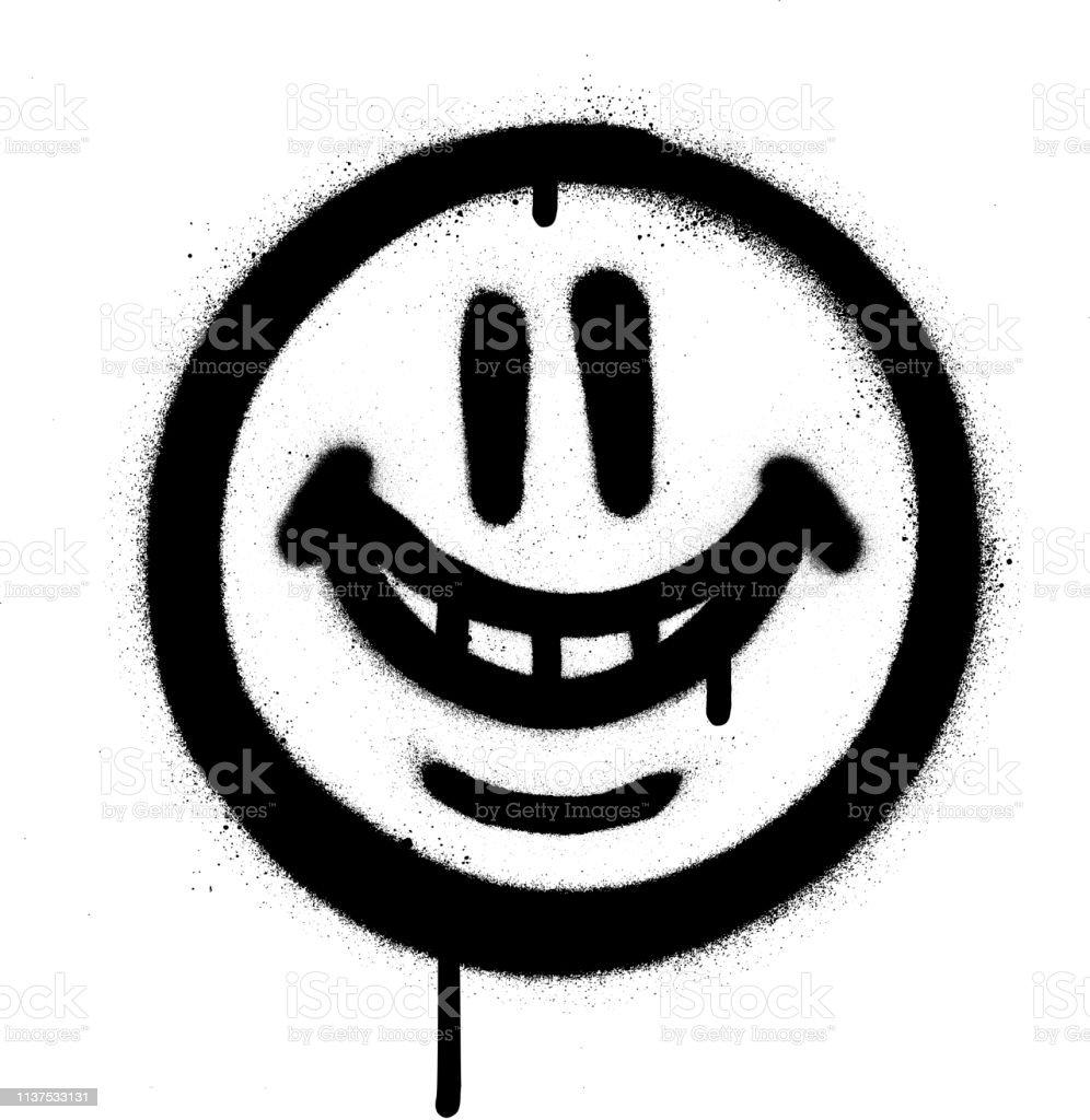 Graffiti emojo lunatique sourire pulvérisé en noir sur blanc - clipart vectoriel de Art libre de droits