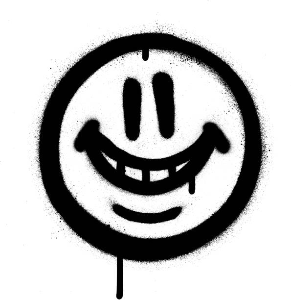 graffiti whimsical smile emojo sprayed in black on white graffiti whimsical smile emojo sprayed in black on white vandalism stock illustrations
