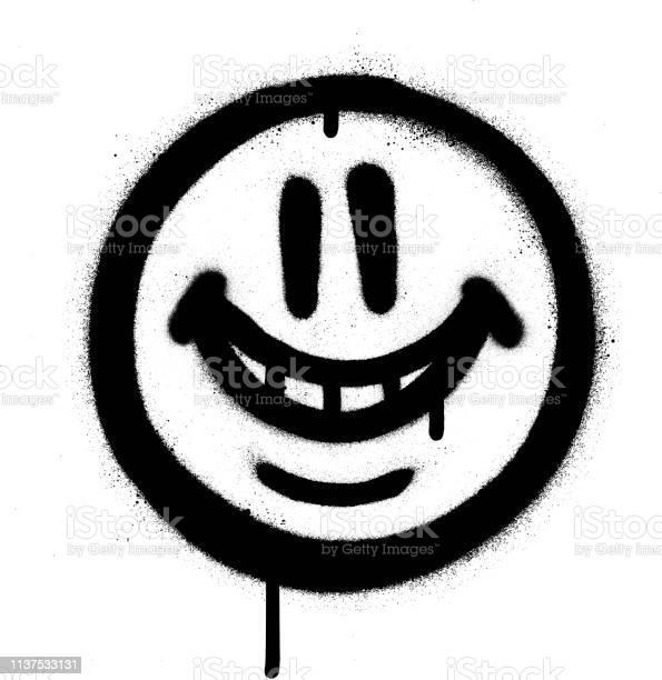 Graffiti Emojo Lunatique Sourire Pulvérisé En Noir Sur Blanc Vecteurs libres de droits et plus d'images vectorielles de Art