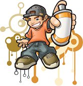 An illustration of a boy holding a spray paint.