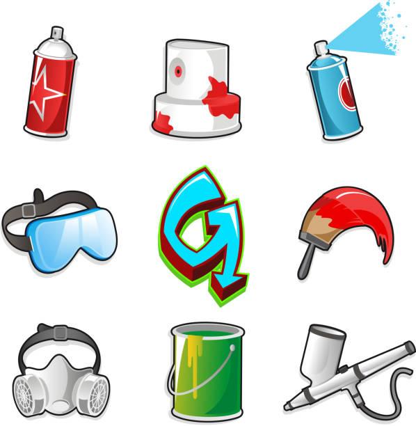 Graffitti icon set Spray Aerosol Mask sign brush airbrush can Graffitti icon set collection. vandalism stock illustrations