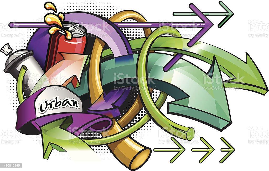 graffitti 都会の矢印とソーダ イラストレーションのベクターアート