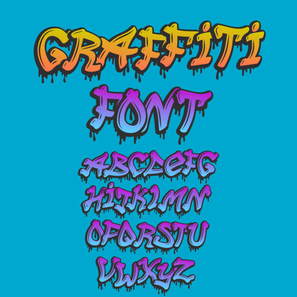 graffity alphabet vector hand drawn grunge font paint symbol design ink style texture typeset - graffiti fonts stock illustrations, clip art, cartoons, & icons