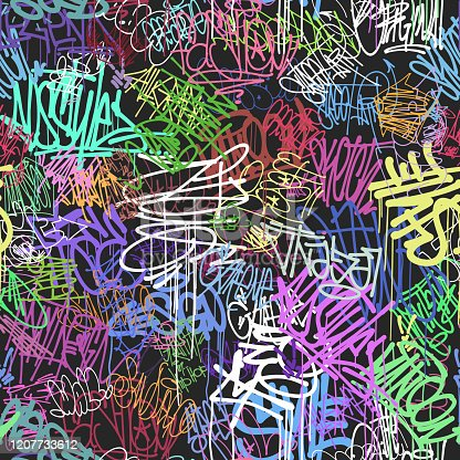 istock Graffity wall colorful tags seamless pattern, graffiti street art 1207733612