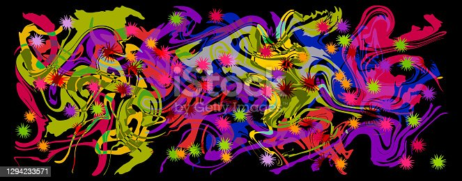 istock Graffity with abstract bright multycolor pattern layered eps10 vector illustration isolated on black background. 1294233571