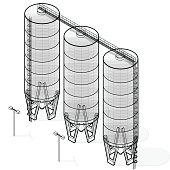 Grain silo isometric building infographic, big wire seed elevator on white background. Illustration set for article, agriculture, farming, husbandry. Flatten isolated master vector.