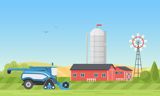 Grain silo storage, farm or modern ranch yard with farmhouse in village landscape