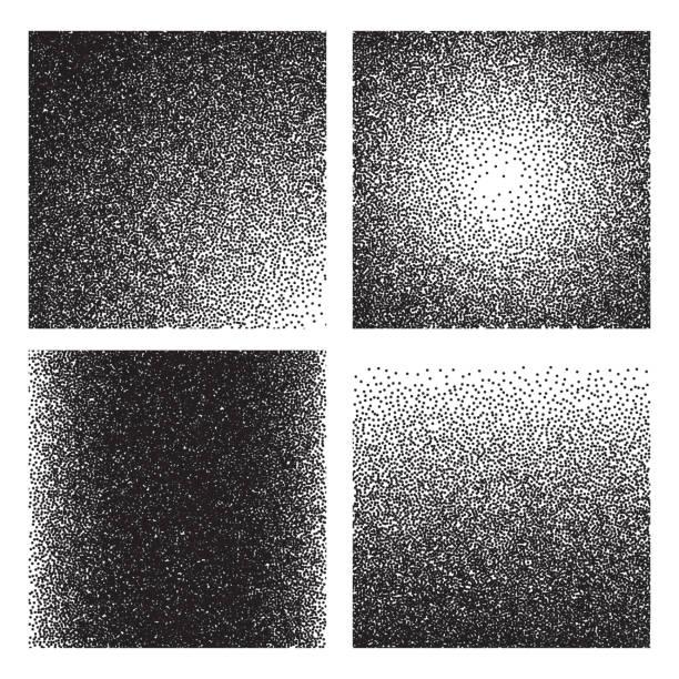 ilustrações, clipart, desenhos animados e ícones de texturas de grão. gradiente de esboço impresso efeito granulado. meio-tom areia ruído grunge vector planos de fundo - grain