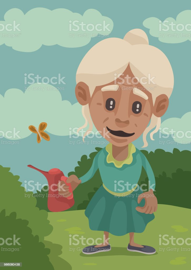 Gramma's Gardening vector art illustration