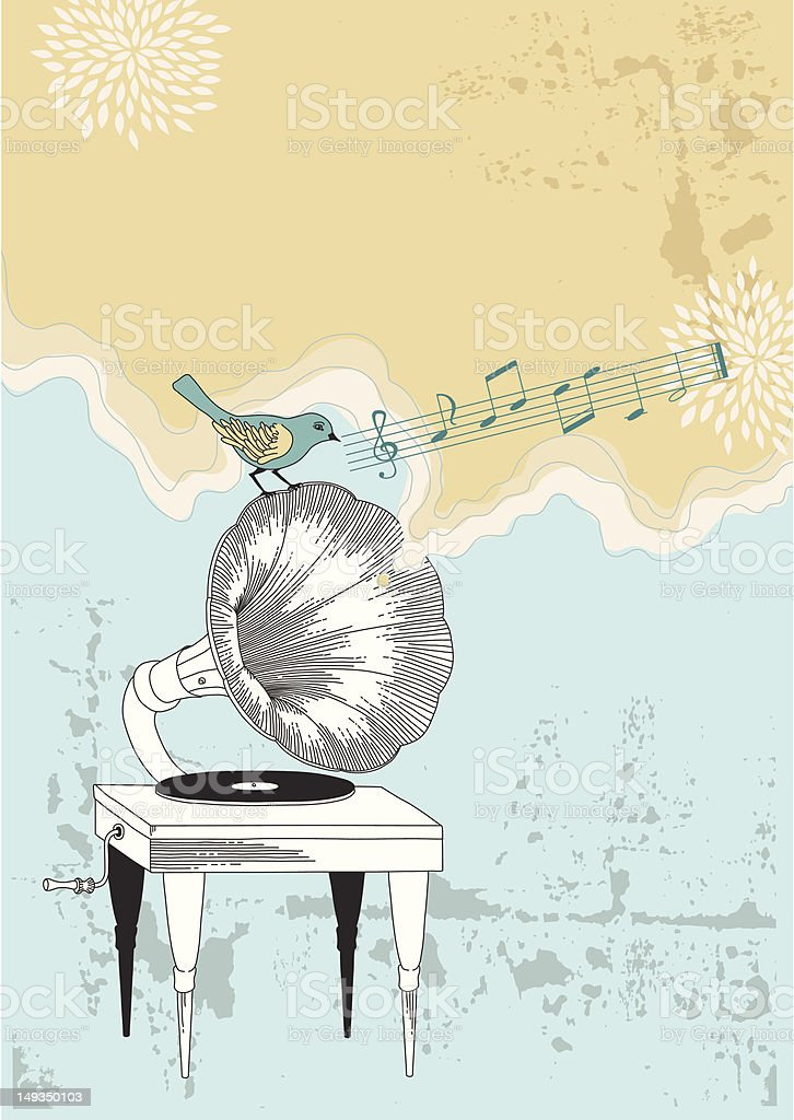Gramophone and Blue Bird royalty-free gramophone and blue bird stock vector art & more images of analog