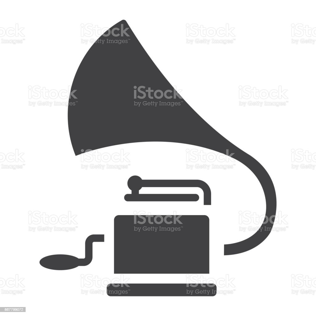 Gramophone glyph icon, music and instrument, phonograph sign vector graphics, a solid pattern on a white background, eps 10. vector art illustration