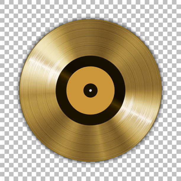 gramophone golden vinyl lp record template isolated on checkered background. vector illustration - record analog audio stock illustrations