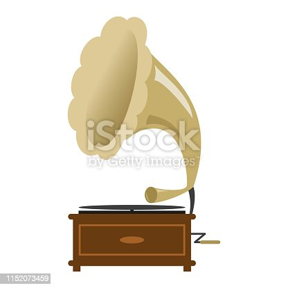 Gramophone icon on the white background. Vector illustration.
