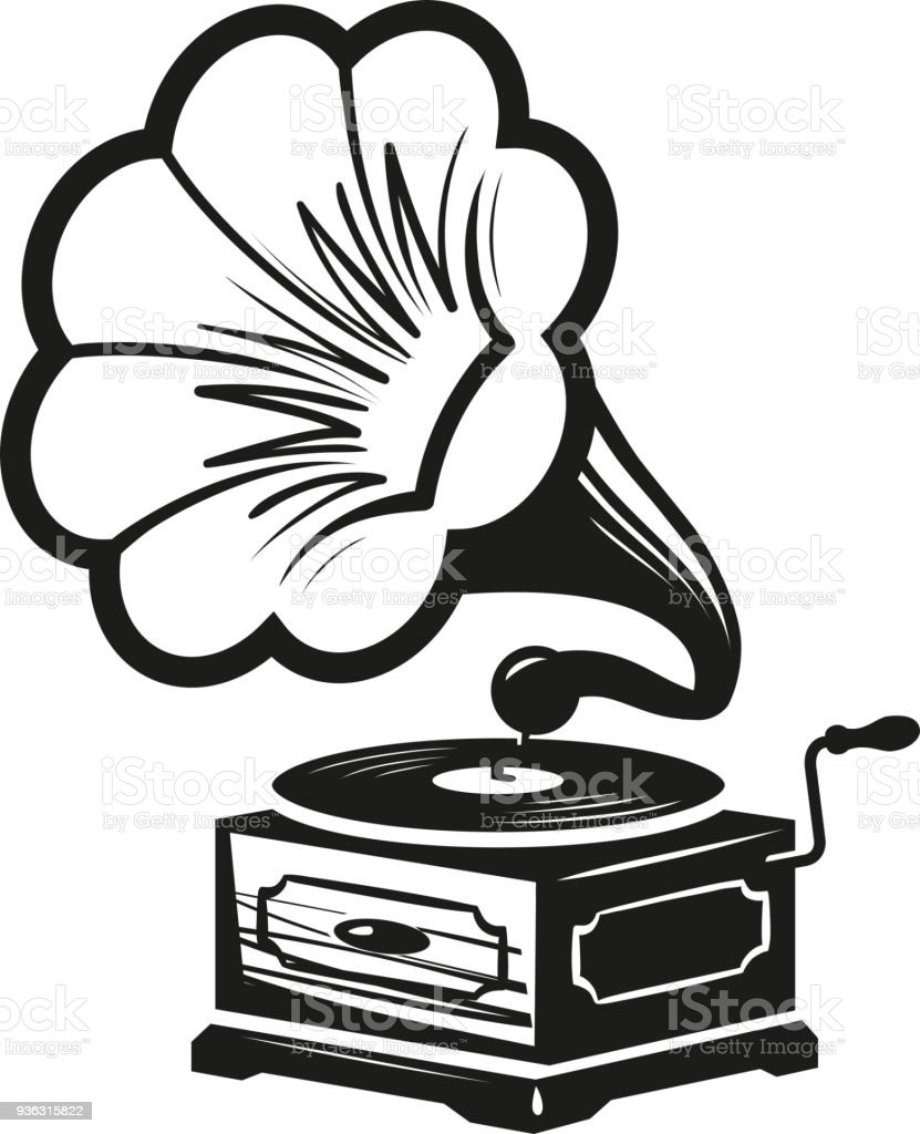royalty free antique record players clip art vector images Sony Portable CD Player Boombox gramophone phonograph icon or label record player icon music concept vector illustration vector