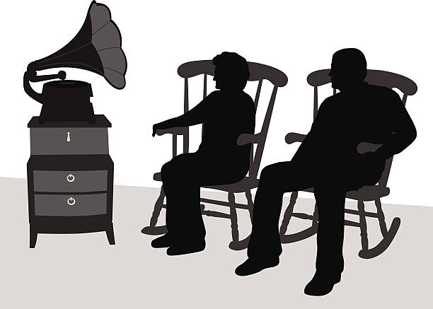 gramophone - old man in rocking chair silhouette stock illustrations, clip art, cartoons, & icons