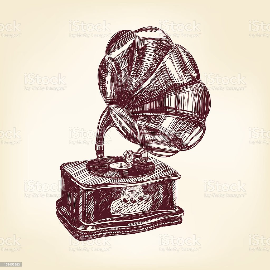 gramophone vintage vector illustration royalty-free gramophone vintage vector illustration stock vector art & more images of computer graphic