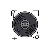 Gramophone, vinyl, audio icon. Element of color music studio equipment icon. Premium quality graphic design icon. Signs and symbols collection icon