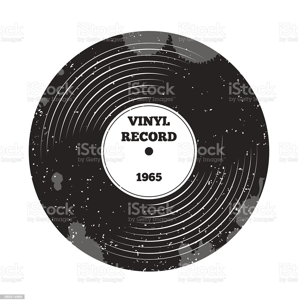 Gramophone vinyl LP record. Radio, rock'n'roll. Music sound. DJ retro vector art illustration