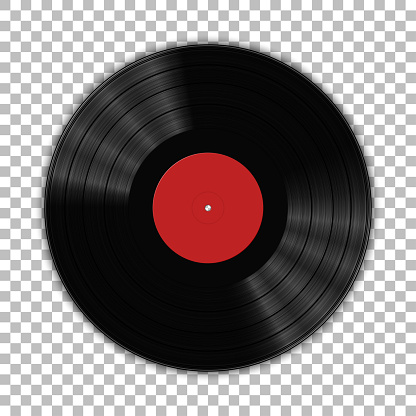 Gramophone vinyl LP record template isolated on checkered background. Vector illustration