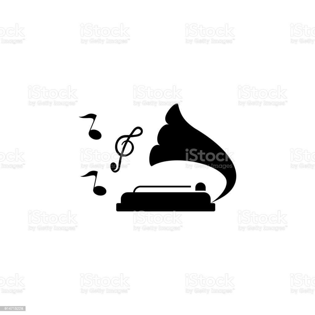 gramophone with notes icon. Element of party and fun icon. Premium quality graphic design icon. Signs and symbols collection icon for websites, web design, mobile app vector art illustration