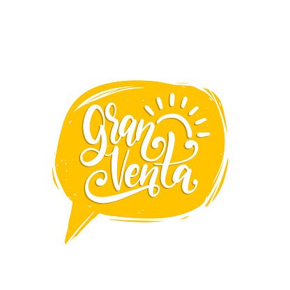 Gran Venta, vector hand lettering. Translation from Spanish to English of phrase Big Sale. Calligraphy in speech bubble.