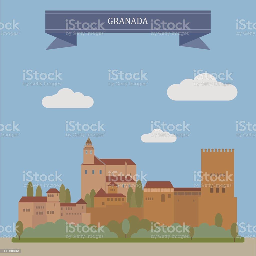 Granada, city in Spain vector art illustration