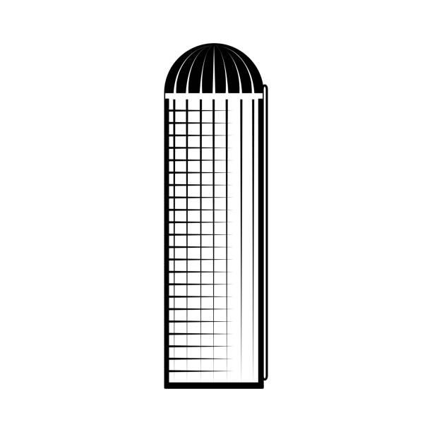 granary construction monochrome silhouette isolated on white background. - clip art of a black and white barn stock illustrations, clip art, cartoons, & icons