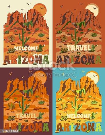 Arizona mountain landscape. Vector