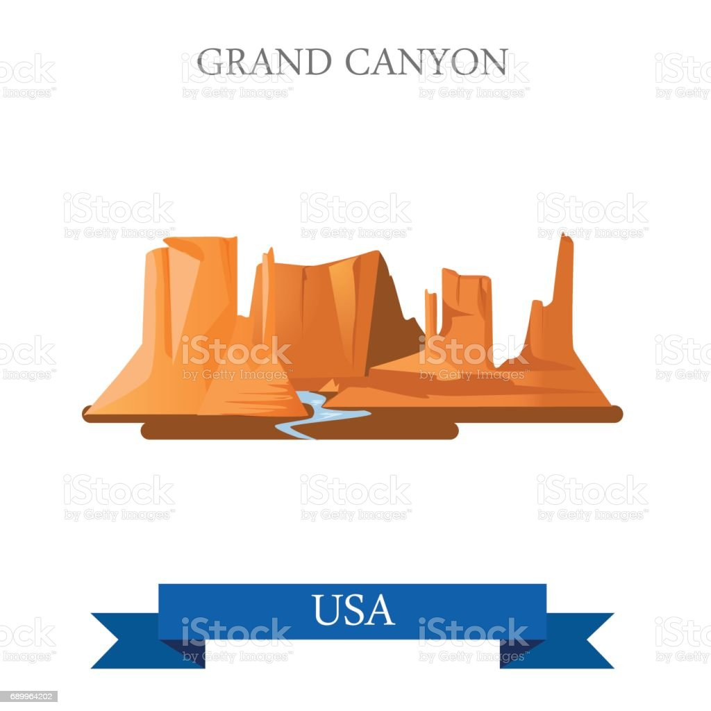 Grand Canyon National Park in Arizona United States. Flat cartoon style historic sight showplace attraction web site vector illustration. World vacation travel sightseeing North America USA collection royalty-free grand canyon national park in arizona united states flat cartoon style historic sight showplace attraction web site vector illustration world vacation travel sightseeing north america usa collection stock illustration - download image now