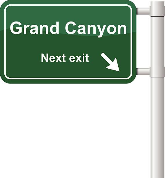 stockillustraties, clipart, cartoons en iconen met grand canyon next exit signal vector - arizona highway signs