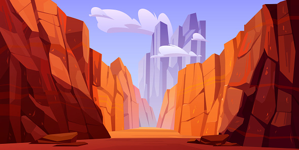 Grand Canyon with road on bottom, national park of Arizona Colorado state. Red sandstone mountains, horizon with sand rocks and sky, nature landscape background, Cartoon vector illustration