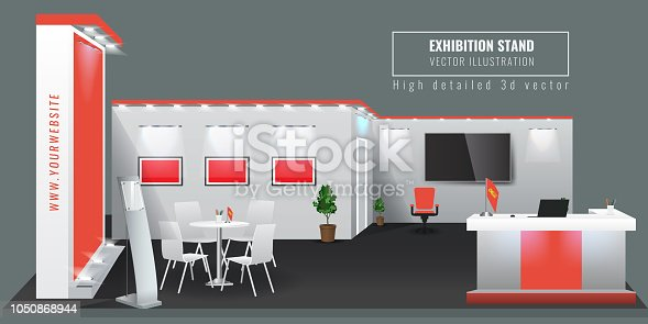 Grand Exhibition stand display mock up. Vector illustration.