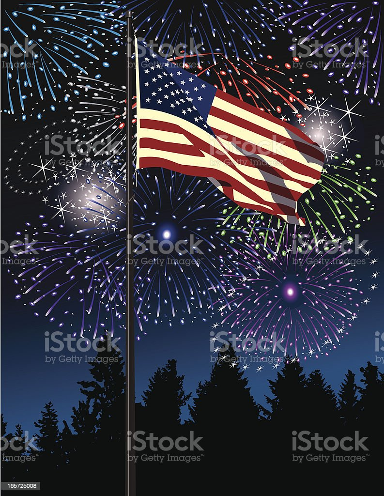 Grand Finale Fireworks Display royalty-free stock vector art