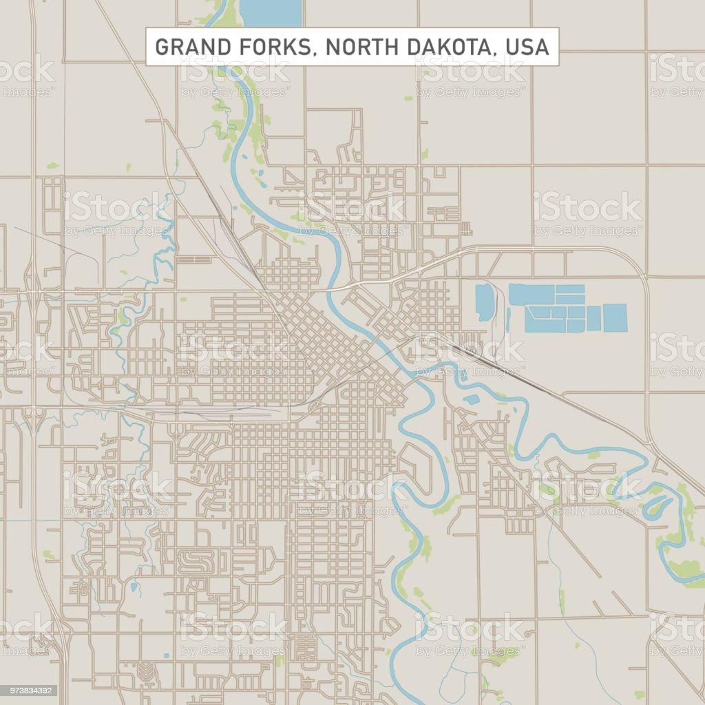 Grand Forks North Dakota Us City Street Map Stock Vector Art & More ...