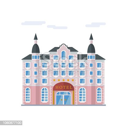 Isolated vector icon of baroque grand hotel building