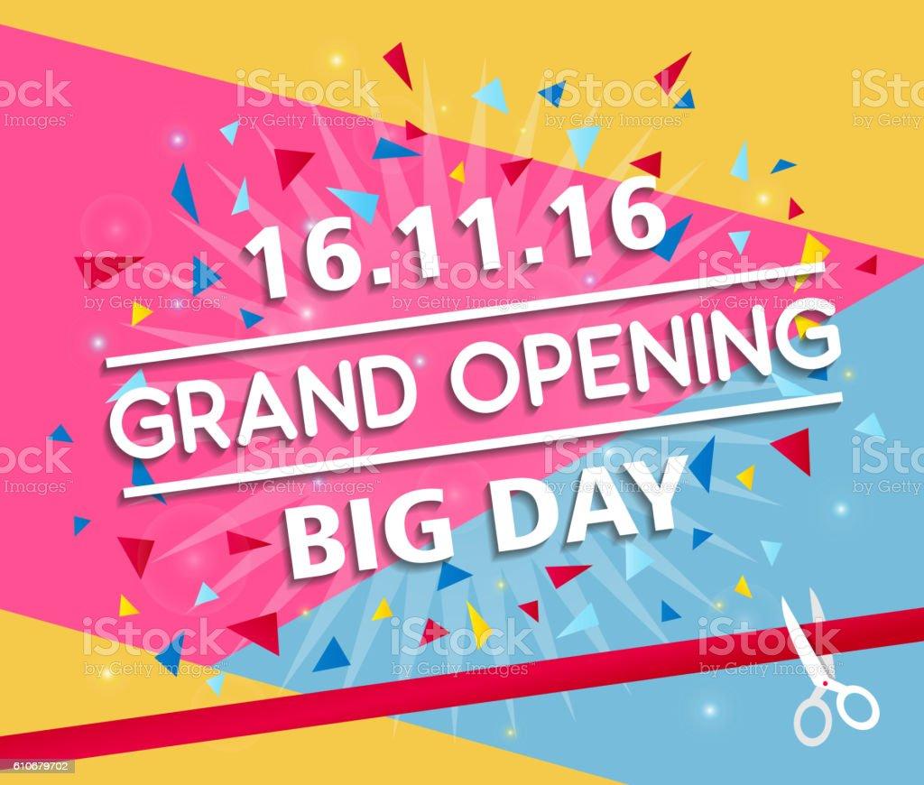 Grand opening banner design vector illustration - Illustration vectorielle