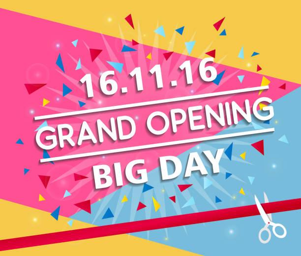 ilustraciones, imágenes clip art, dibujos animados e iconos de stock de grand opening banner design vector illustration - gran inauguración
