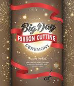 Grand opening celebration banner design vector illustration. Ribbon cutting ceremony.