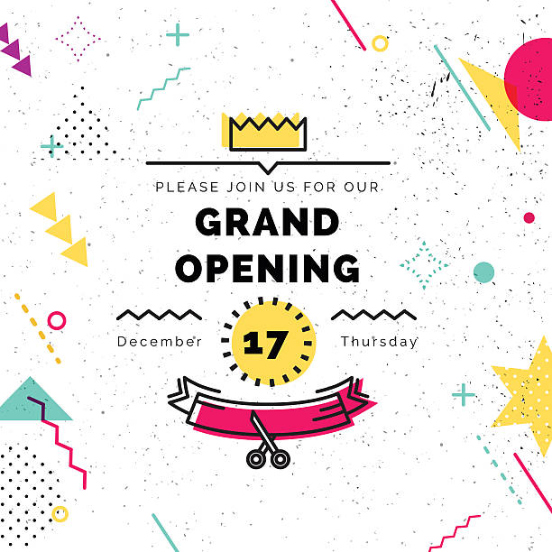 Grand opening banner in style - Illustration vectorielle