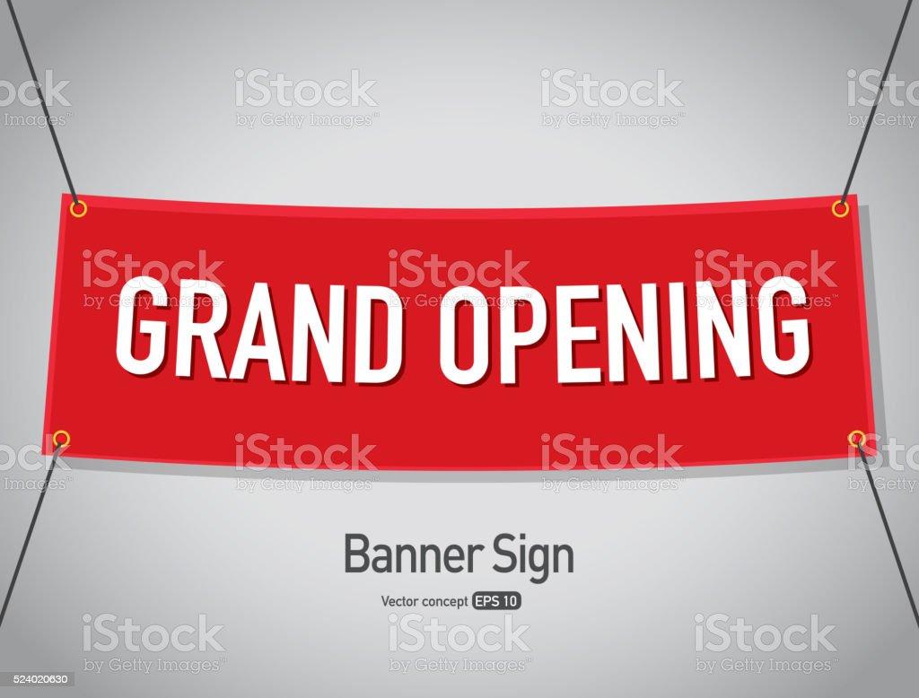 Grand opening banner sign text design vector art illustration