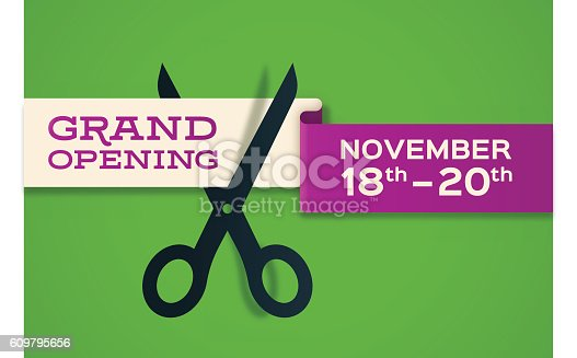 Grand opening banner cutting store opening concept. EPS 10 file. Transparency effects used on highlight elements.