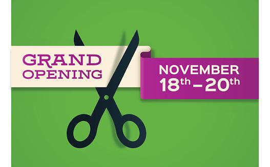 Vetores de Grand Opening Banner Store Opening e mais imagens de Abrindo