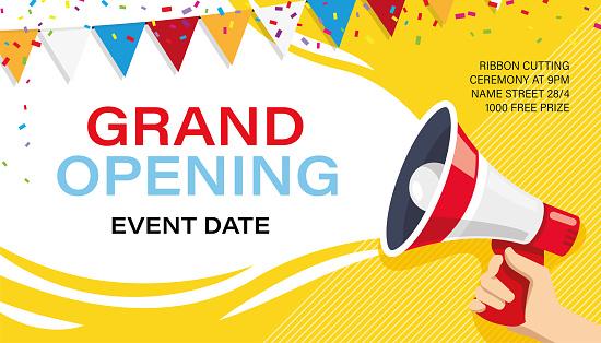 Grand opening banner template. Advertising design