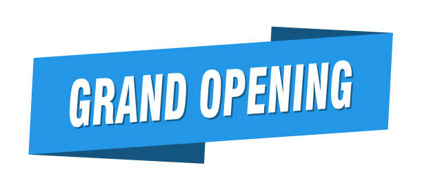 grand opening banner template. grand opening ribbon label sign vector art illustration