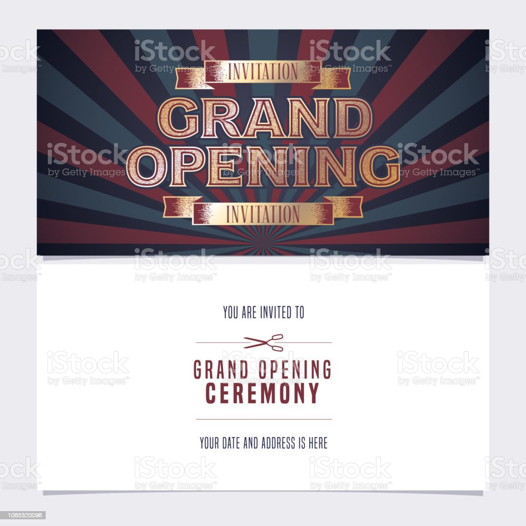 Grand Opening Banner Vector Invitation Card Stock Vector Art More