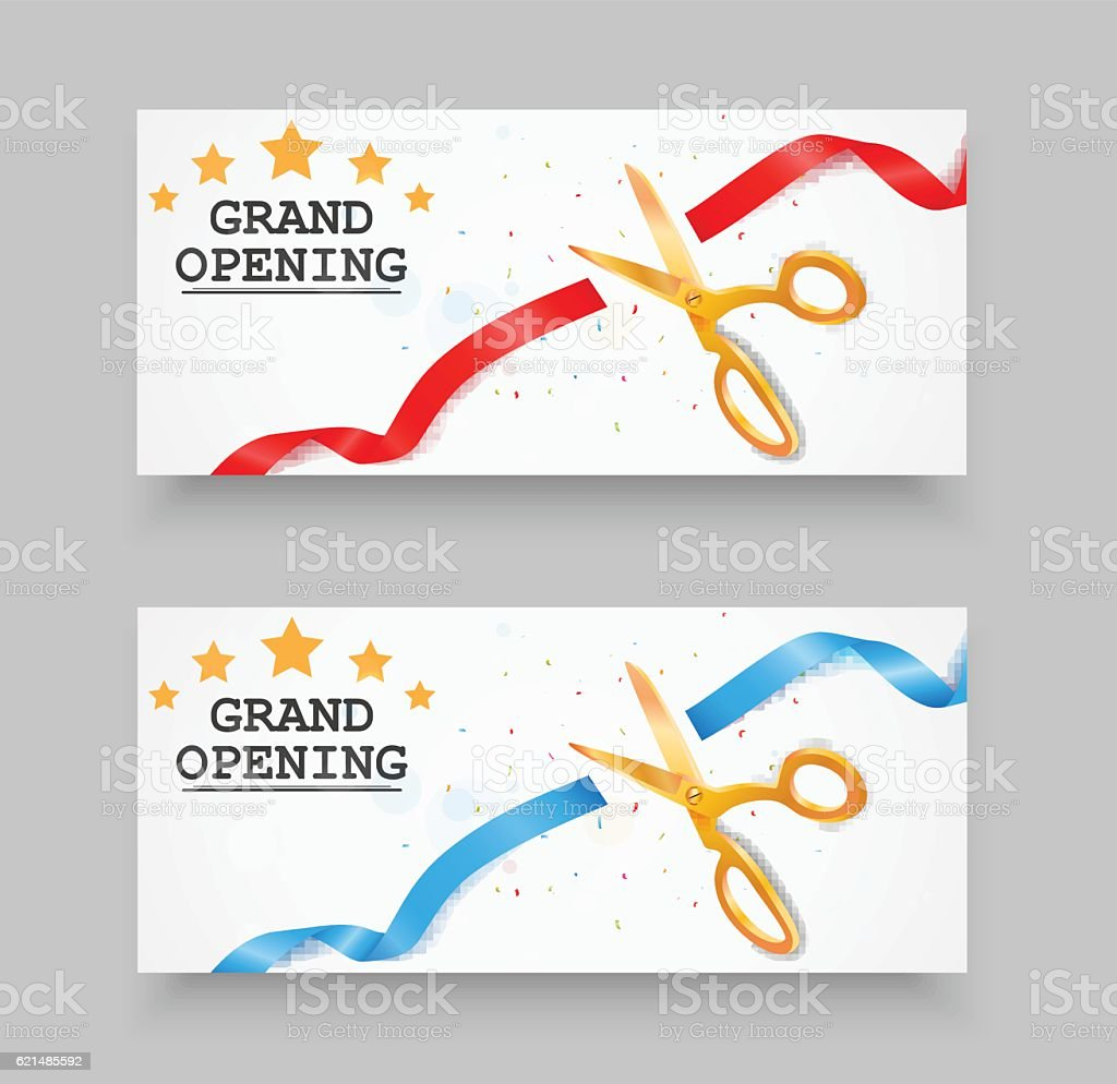 Grand opening banner with confetti and fireworks grand opening banner with confetti and fireworks - immagini vettoriali stock e altre immagini di affari royalty-free