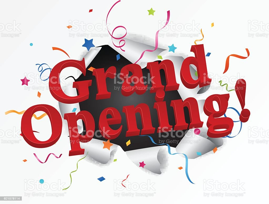 Grand opening banner with confetti grand opening banner with confetti – cliparts vectoriels et plus d'images de acheter libre de droits