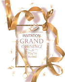 Grand opening banner with curly gold ribbon, scissors and golden frame. Vector illustration