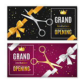 Grand Opening Banners Invitation Horizontal Set witch Golden and Silver Scissor Cut Tape Ceremony Start. Vector illustration
