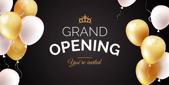 Grand opening black banner with golden and white balloons.
